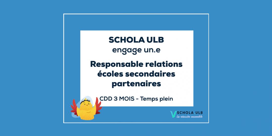 Offre d'emploi : Responsable relations écoles secondaires partenaires - CDD 3 MOIS